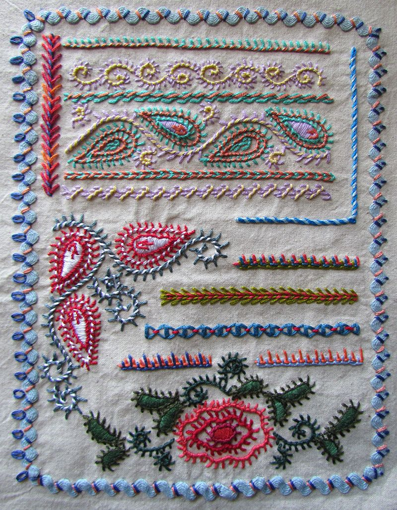 Feather, chain and blanket stitch sampler