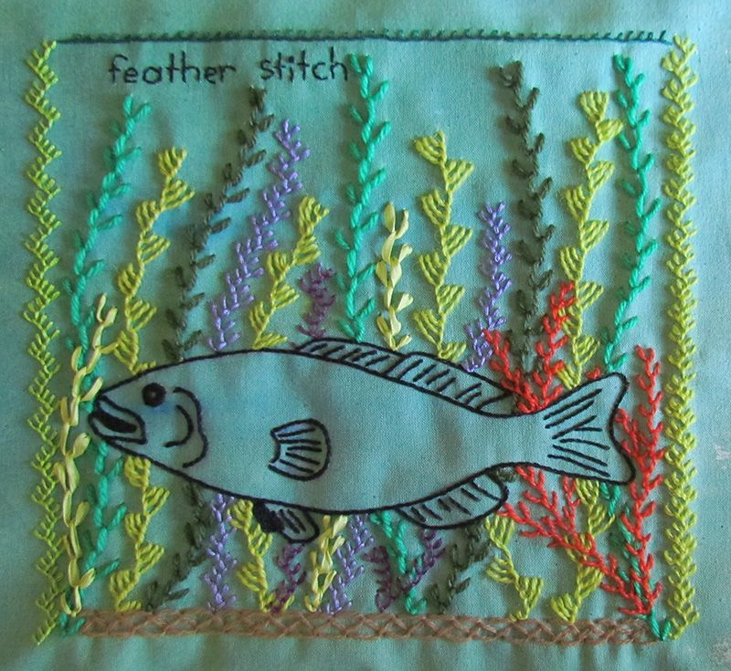 Embroidered stem stitch fish in a feather stitch seaweed garden.