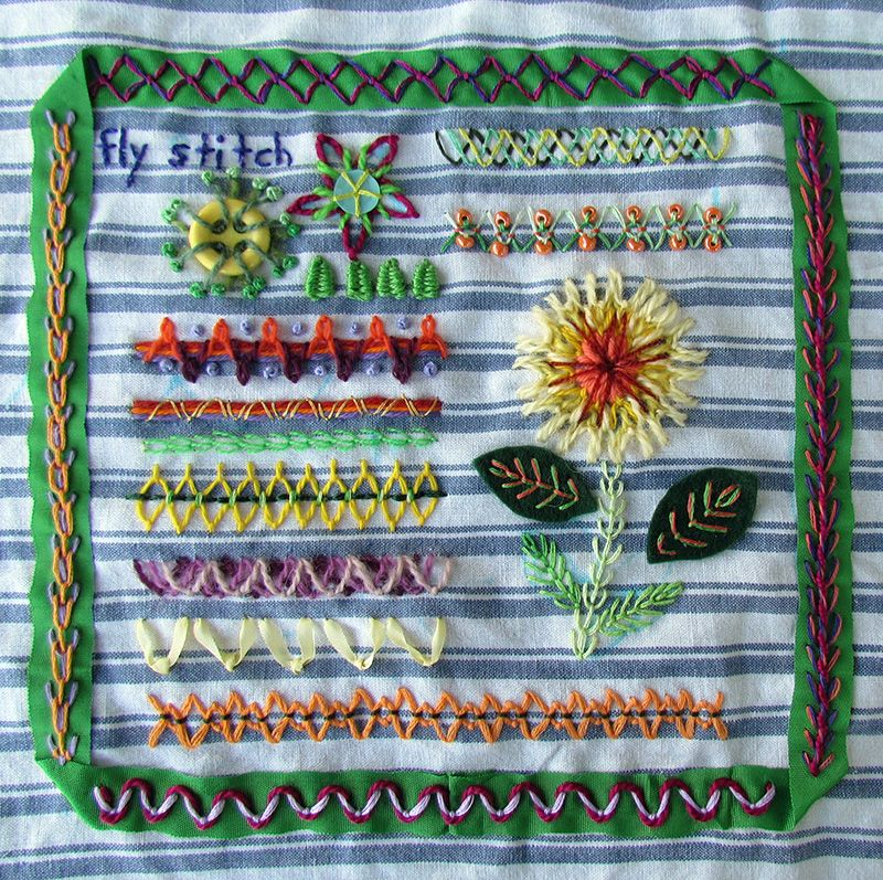 Fly stitch hand embroidery sampler