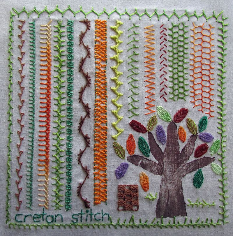 Variations on cretan stitch embroidery with a woodblock printed tree