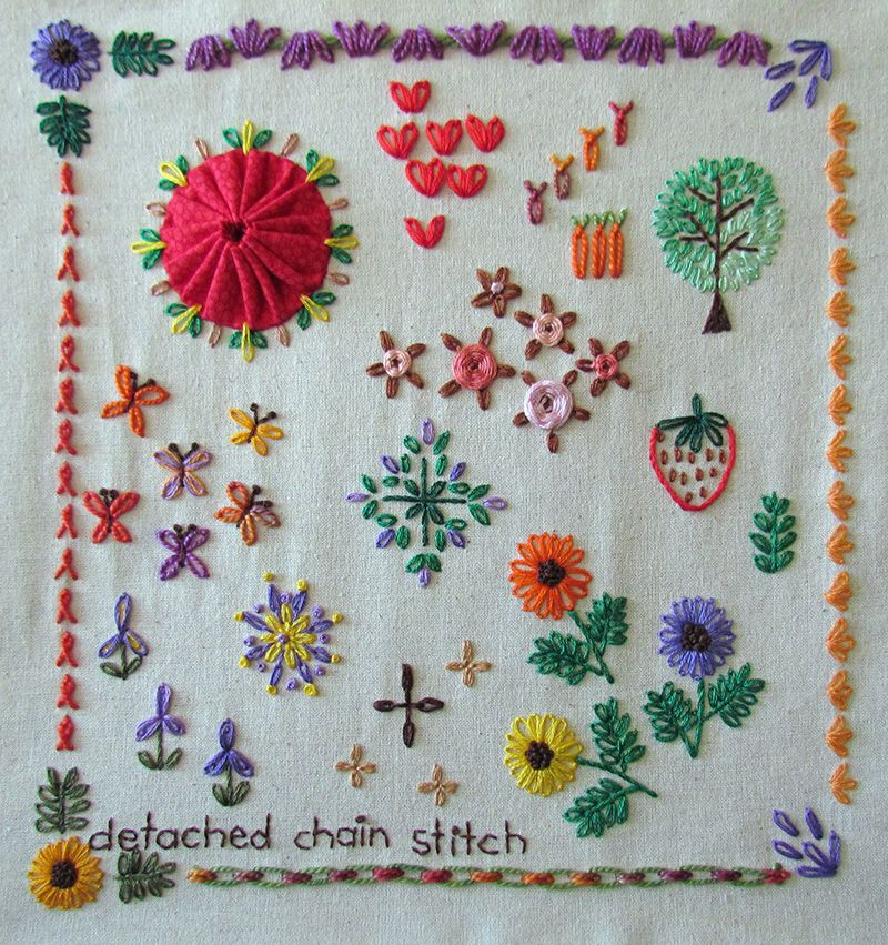 Embroidered sampler featuring detached chain stitch flowers, tree, geometric motifs, butterflies and borders.