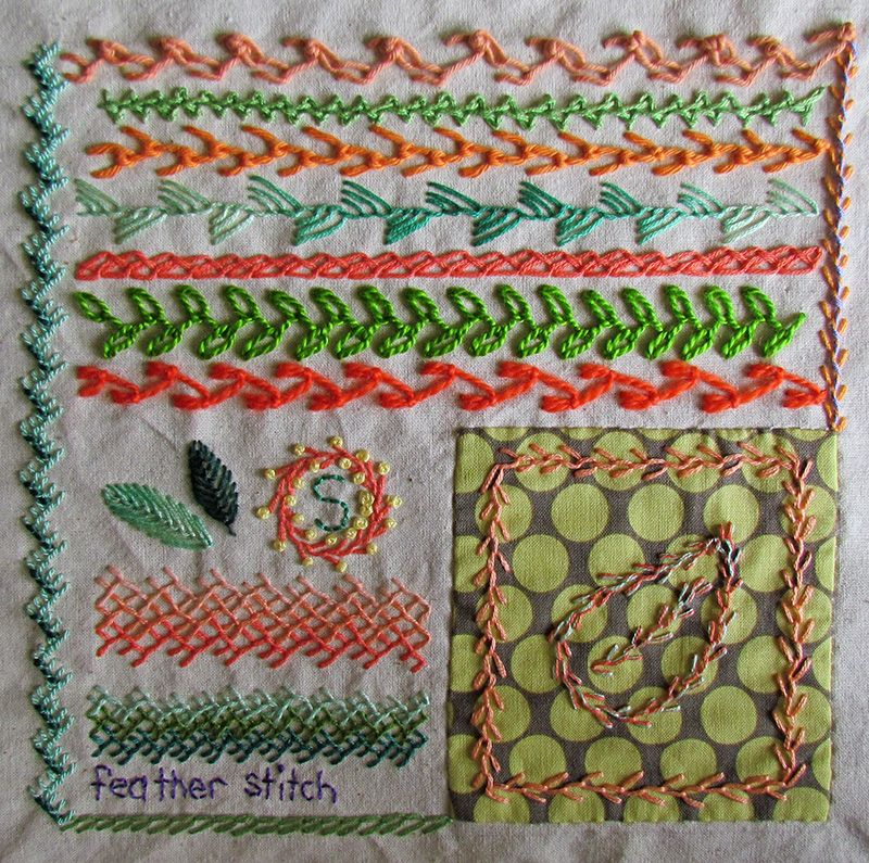 Embroidered feather sttch sampler with lines of different types of feather stitch and feather stitch shading