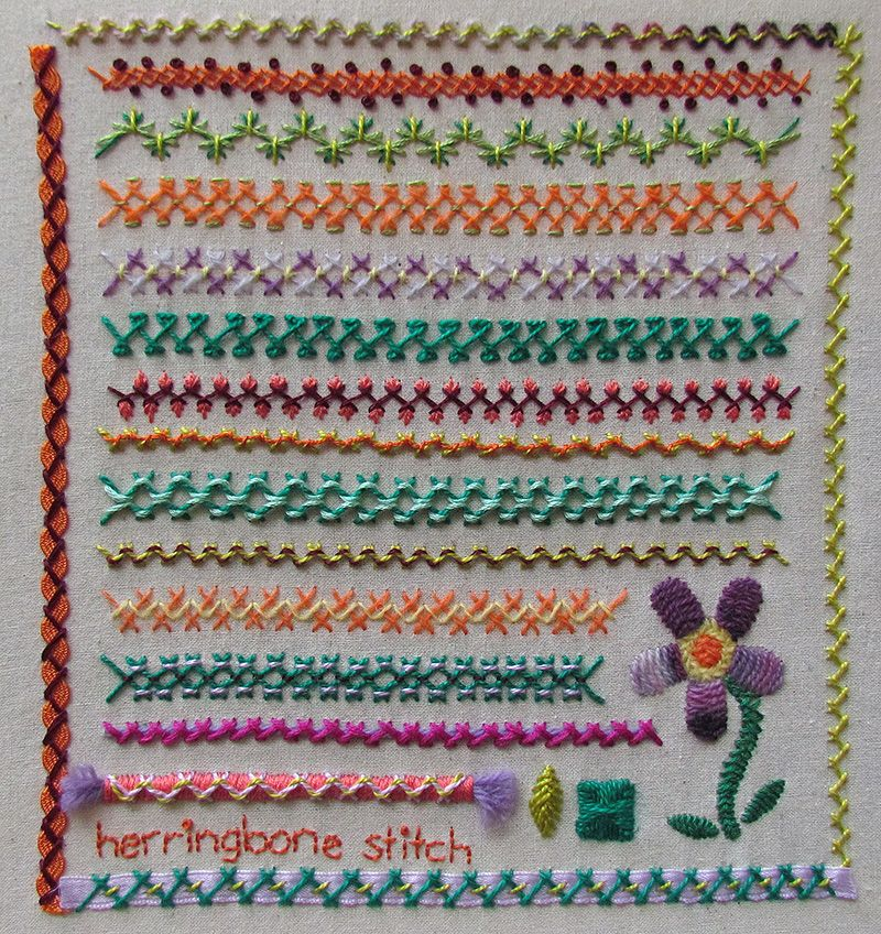 Embroidered sampler in herringbone stitch with flower and decorative borders