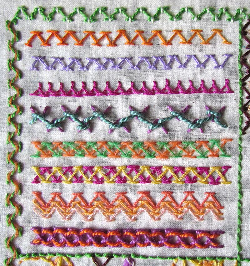 Embroidered chevron stitch borders