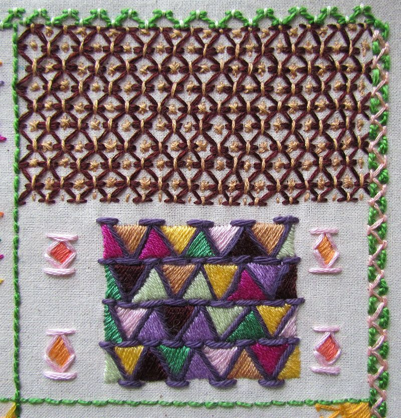 Two different ways of stacking embroidered chevron stitch