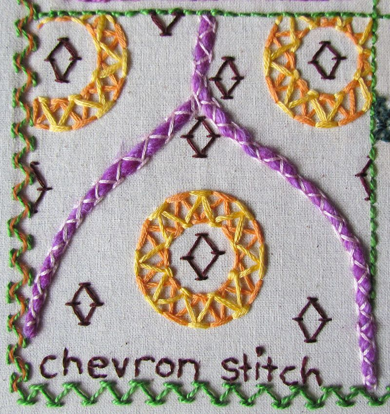 Double chevron stitch circles, stacked diamonds and couching