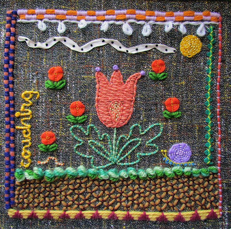 Embroidered sampler with couched flowers, sun and bugs