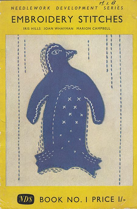 Applique penguin on the cover of Stitches No. 1 by the Needlework Development Scheme