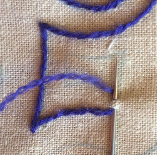 How I Turn Corners in Embroidered Stem Stitch - Part 2