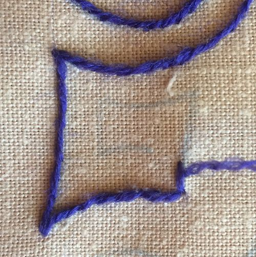 How I Turn Corners in Embroidered Stem Stitch - Part 4