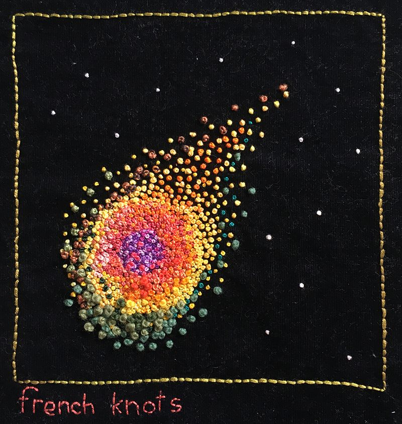 French knot meteor on featherwale corduroy