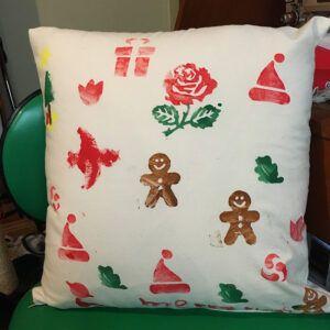 Hand printed Christmas cushion