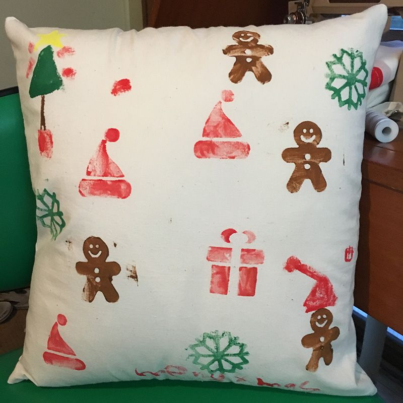 Hand printed Christmas cushion