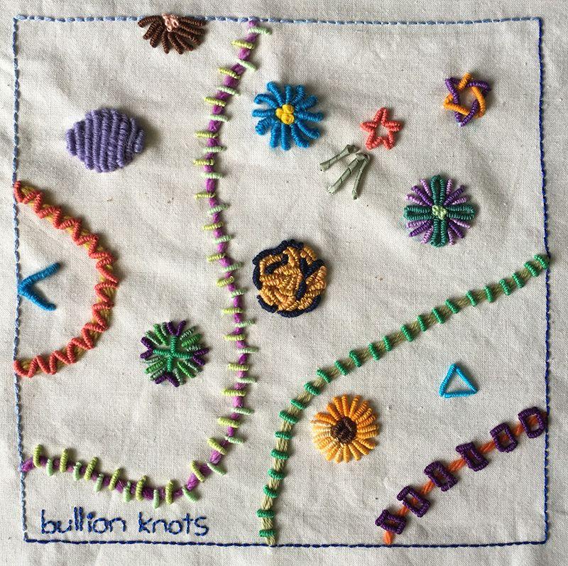 Bullion Knot Embroidery Sampler