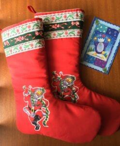 Two retro look Christmas stockings.