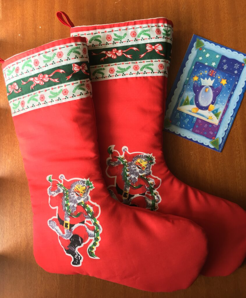 Two retro look Christmas stockings.