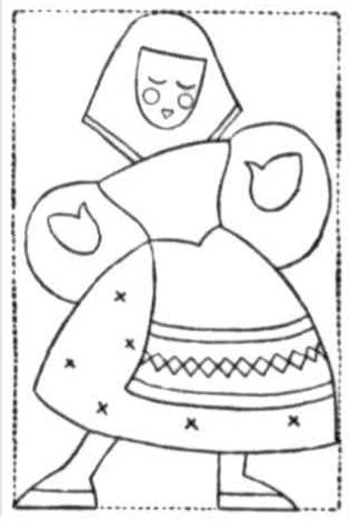 Felt applique design for a peasant lady with apron and scarf