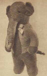 1940's knitted elephant toy with free pattern included