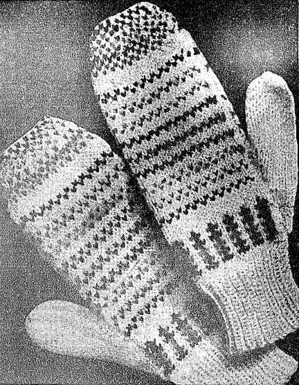 Free knitting pattern for Fair Isle mittens from 1945