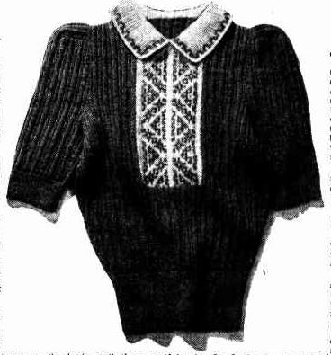 Fair Isle knitted t-shirt from 1947 Free knitting pattern available.