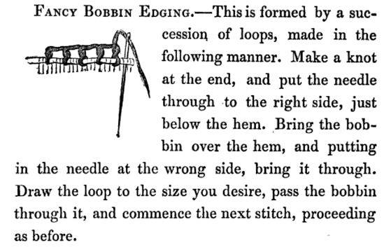 Instructions for working the fancy bobbin edging embroidered edging