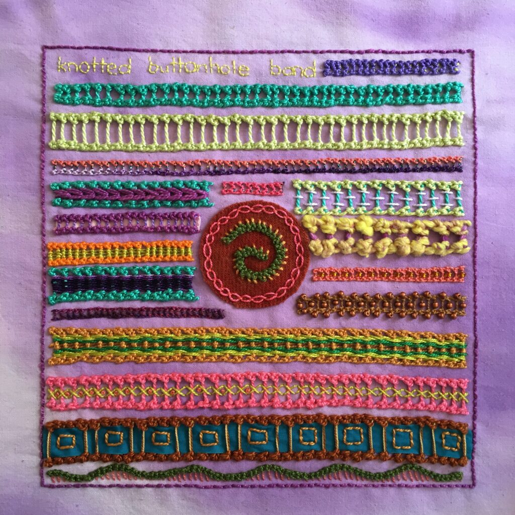 Embroidery sampler featuring knotted buttonhole band.