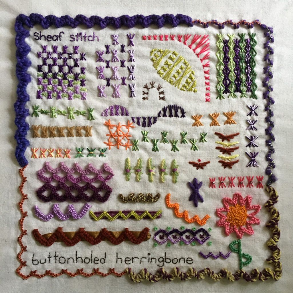 SHeaf stitch and buttonholed herringbone emproidery sampler for the Take a Stitch Tuesday embroidery challenge