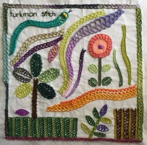 Embroidered sampler in Turkman stitch