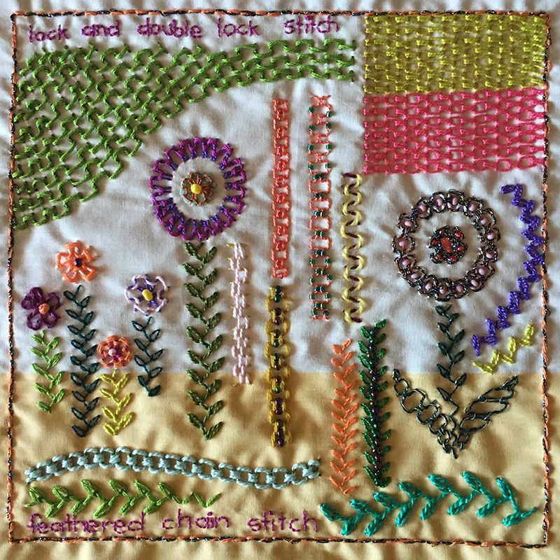 Lock, double lock, and feathered chain stitch embroidery sampler