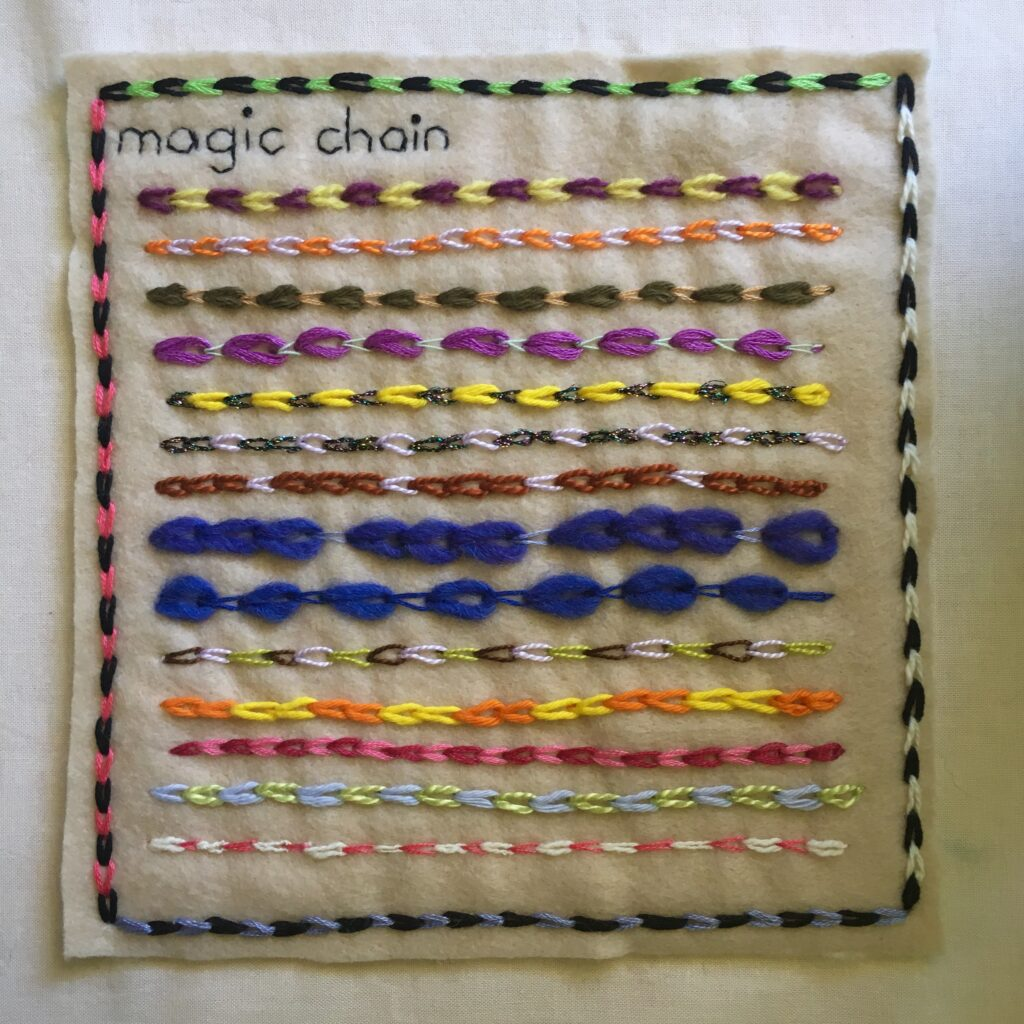 Multi coloured chain stitch embroidery on felt