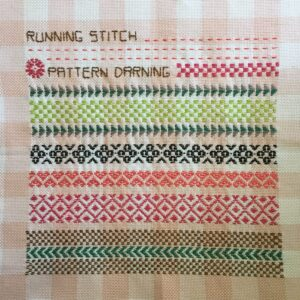 Running stitch embroidery worked in various patterns on even weave fabric