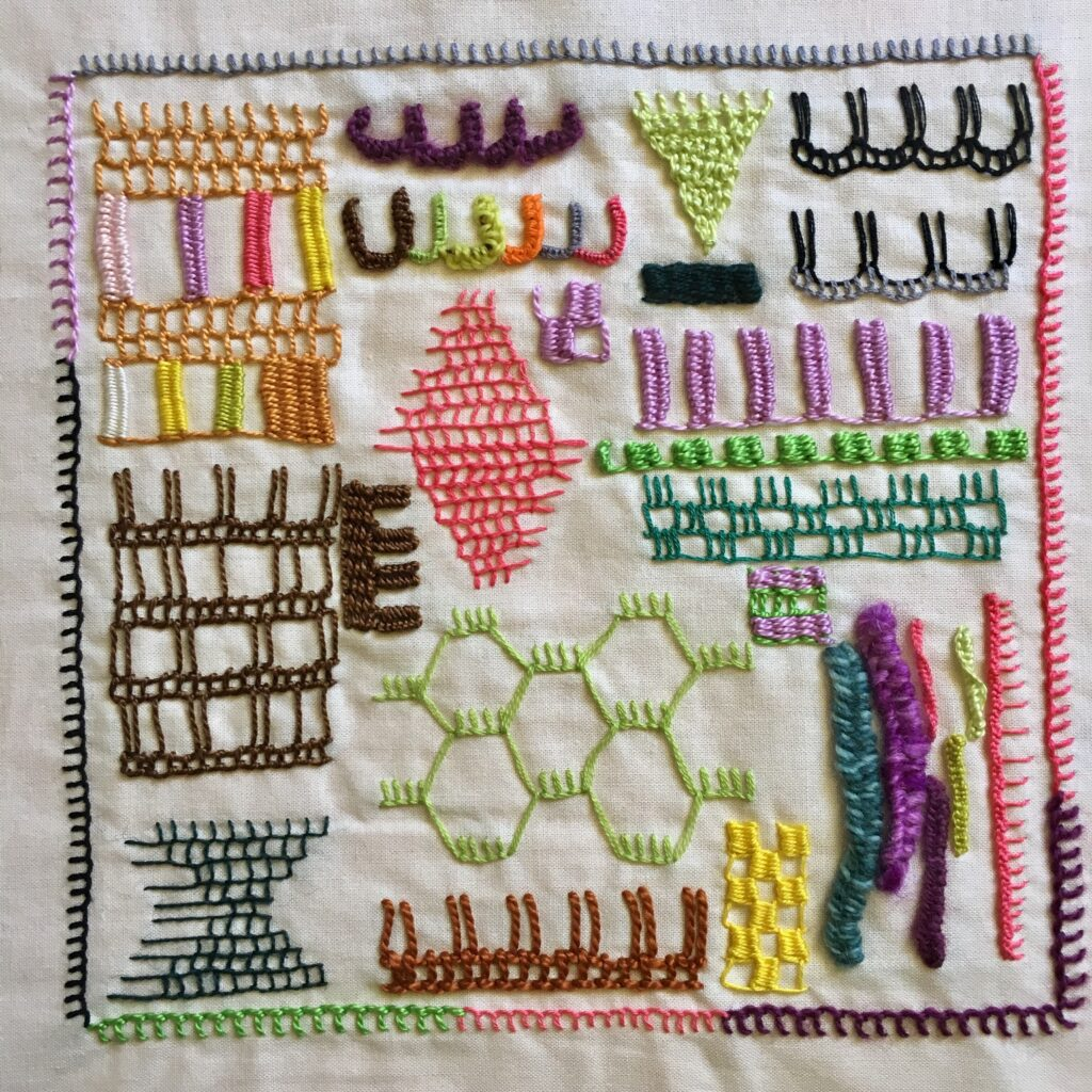 A buttonhole/blanket stitch embroidery sampler inspired by Constance Howard's Book of Stitches.