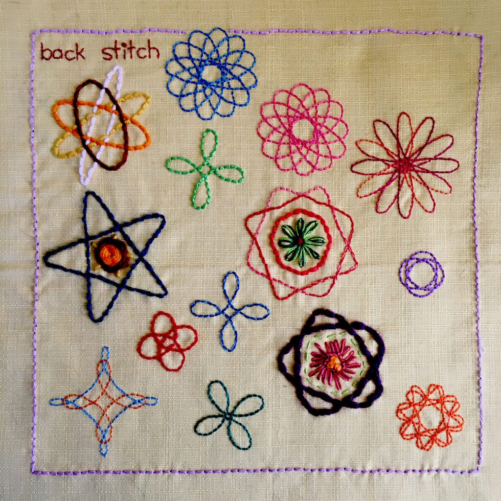 Spirograph designs embroidered in back stitch.