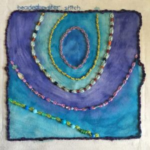 Beaded oyster stitch sampler for the TAST, Take a Stitch Tuesday, challenge.