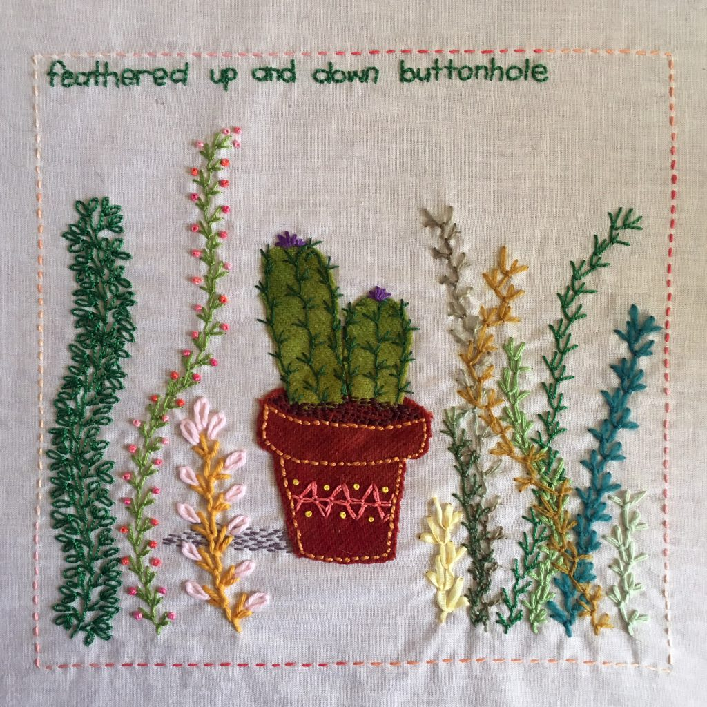 Feathered up and down buttonhole stitch sampler for the TAST embroidery challenge