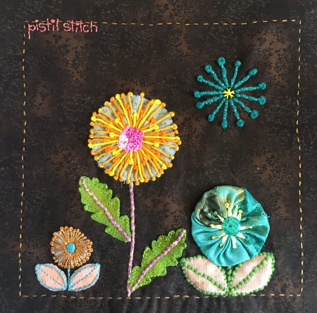 Pistil stitch sampler for the TAST embroidery challenge