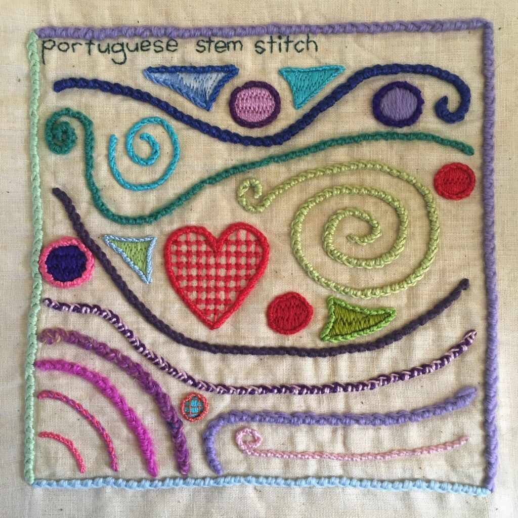 Portuguese stem stitch sampler for the TAST embroidery challenge