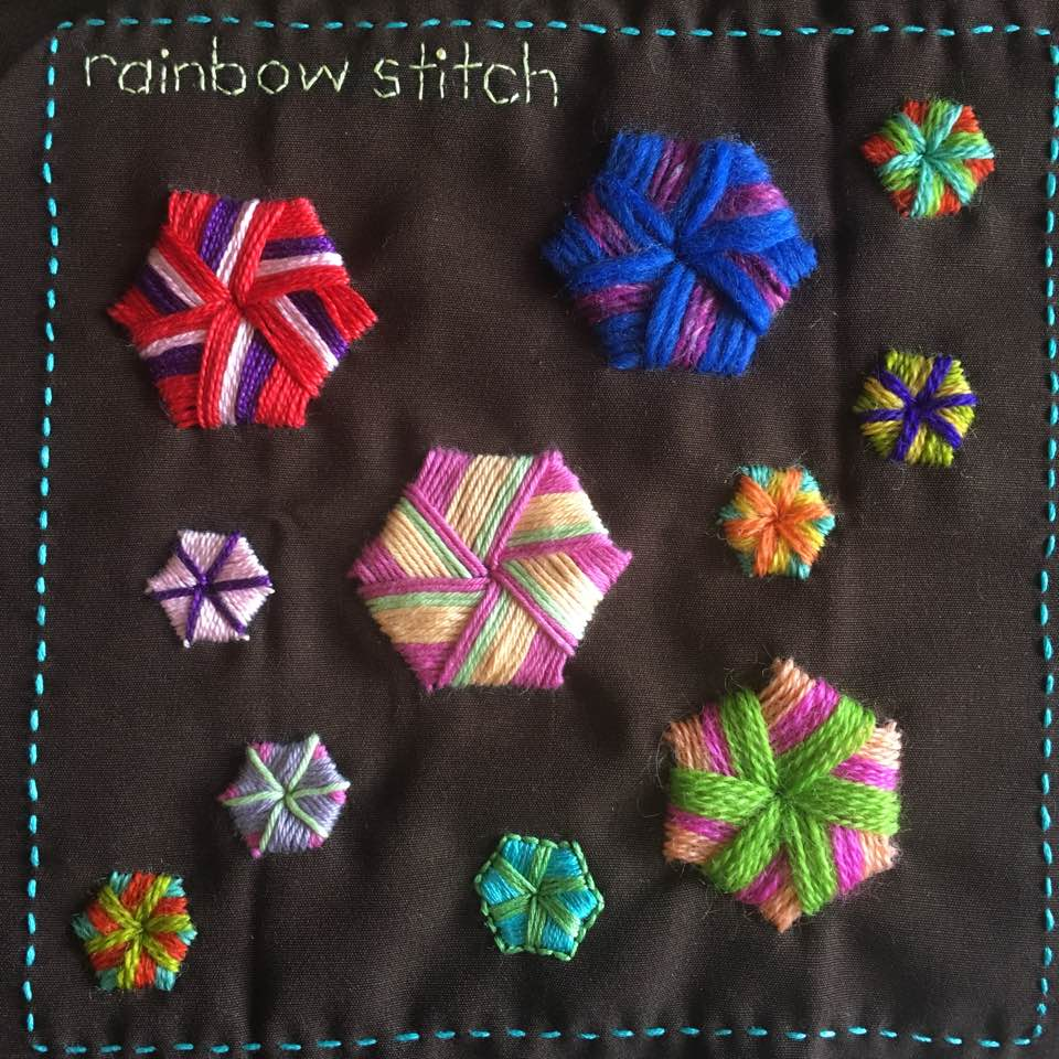 Rainbow stitch embroidered in various types of thread.