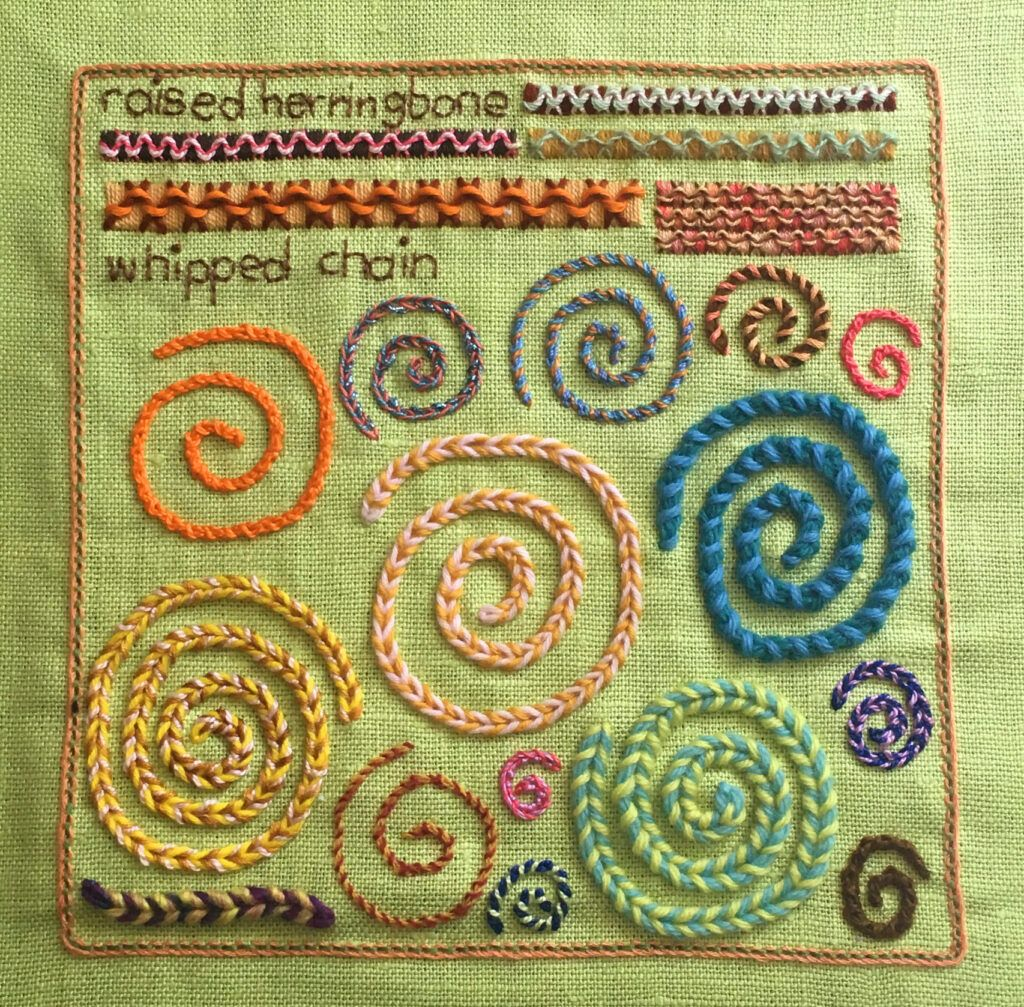 Raised herringbone and whipped chain stitch sampler for the TAST embroidery challenge