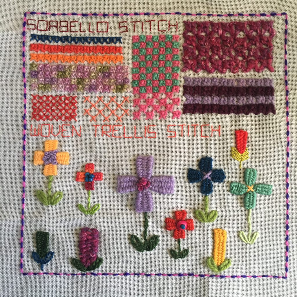 Sorbello and Woven Trellis stitch sampler for the TAST embroidery challenge