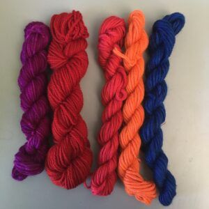 Hand dyed knitting yarns and crewel wools