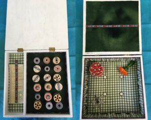 Needlework box lined with fabric