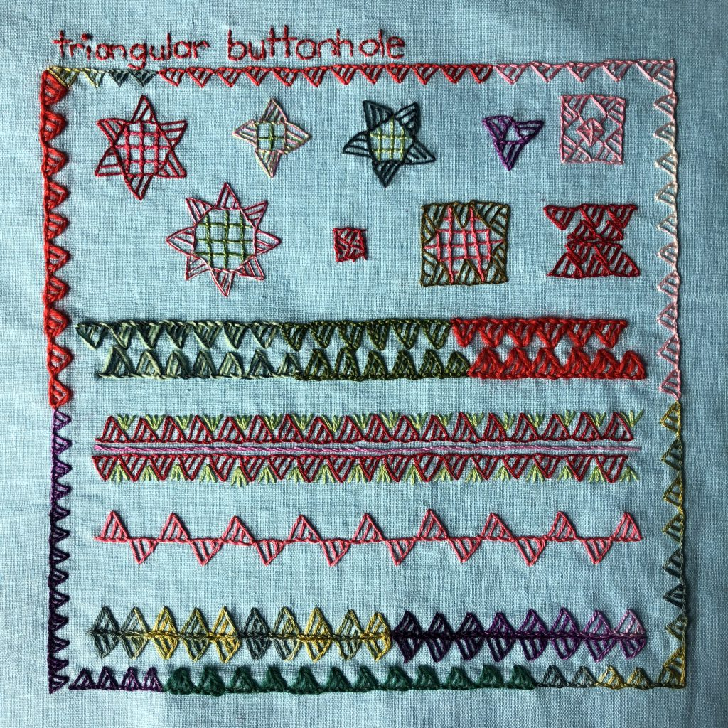Motifs and border treatments worked in triangular buttonhole stitch.