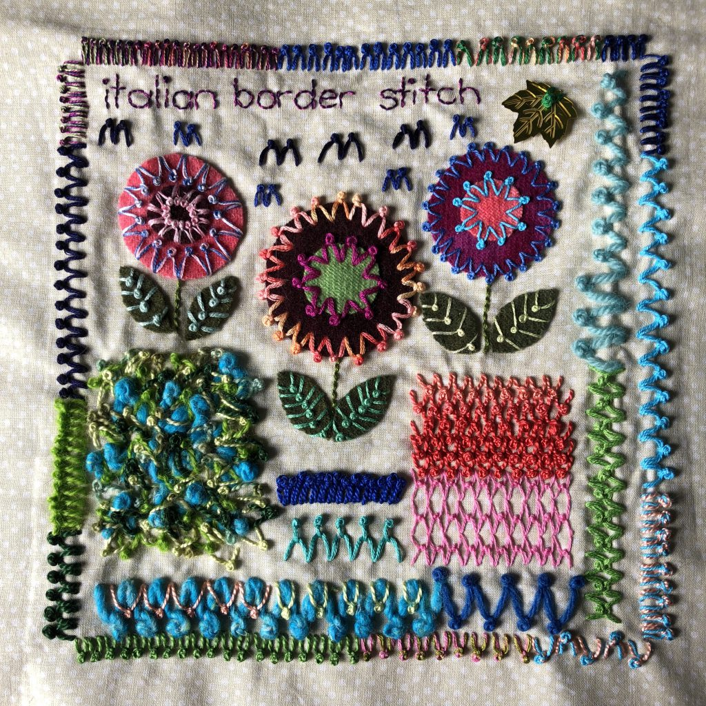 Embroidered sampler featuring Italian border stitch on beige quilting cotton