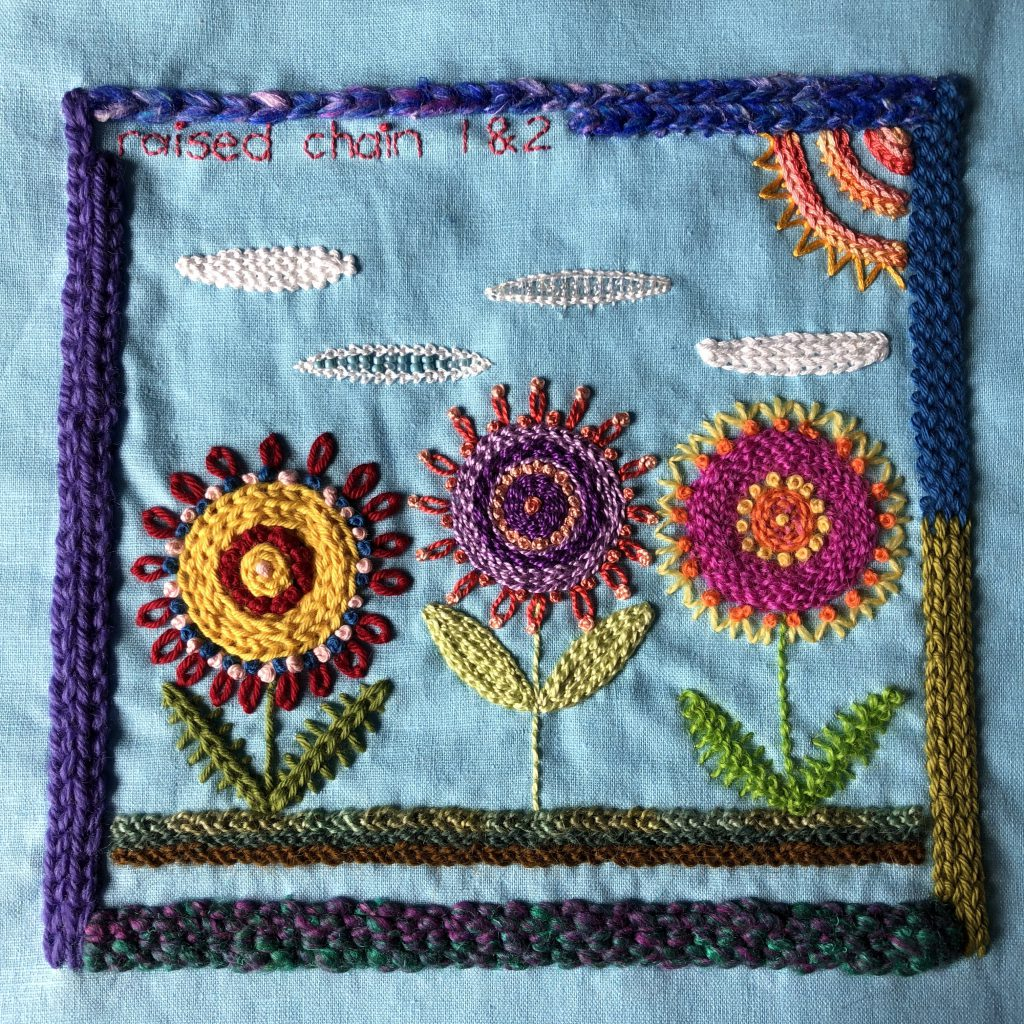 Embroidery sampler with two versions of raised chain stitch.