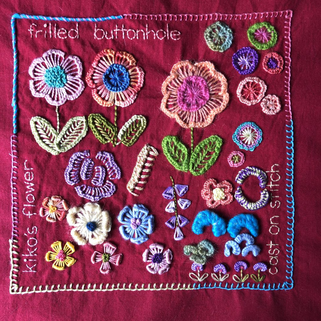 Embroidery sampler featuring lots of different flowers
