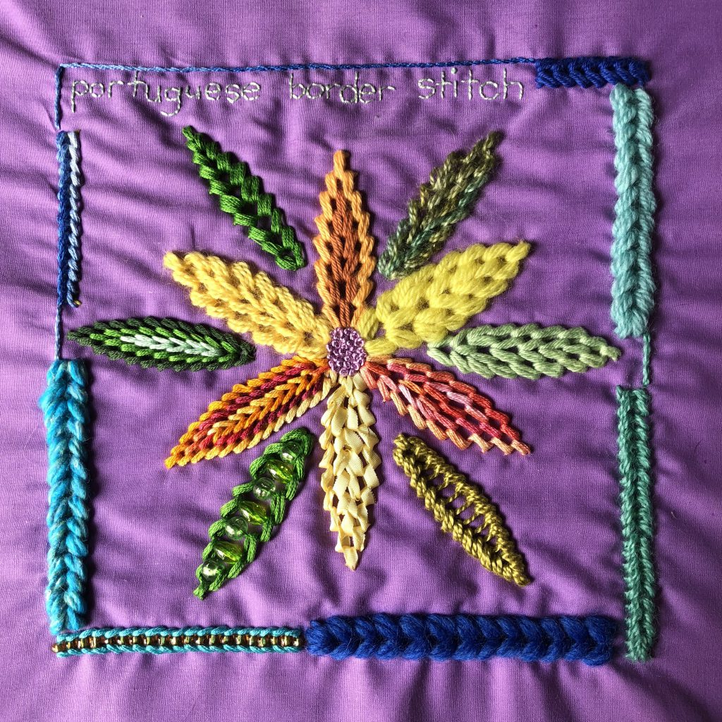 Portuguese border stitch worked in a flower shape using a variety of threads.