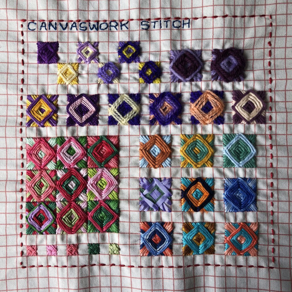 Canvaswork stitch worked in a variety of threads.