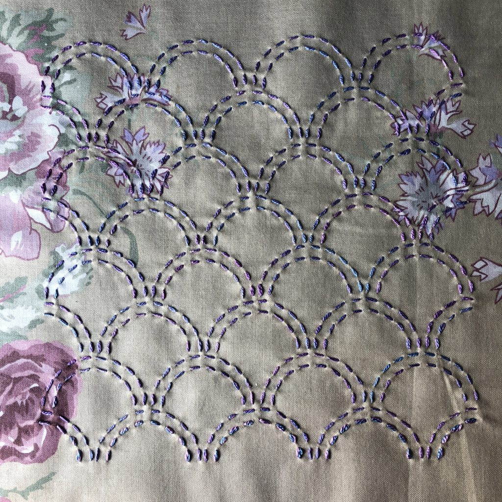 Running stitch sashiko embroidery