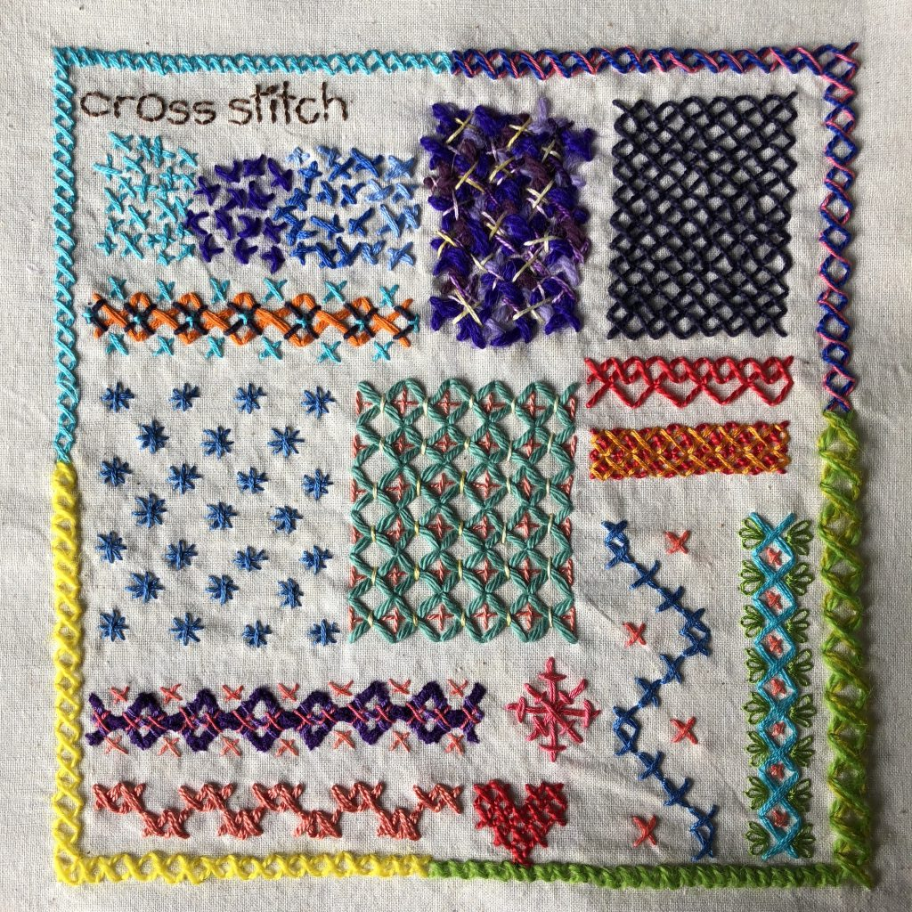 Borders and fillings embroidered using cross stitch.